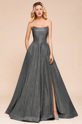 Shinning Strapless Long Prom Dress | Lace-up Evening Gowns With Split