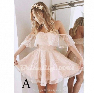 Sweetheart Off The Shoulder Lace Short Homecoming Dresses_2