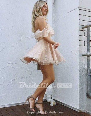 Sweetheart Off The Shoulder Lace Short Homecoming Dresses_5