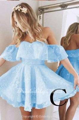 Sweetheart Off The Shoulder Lace Short Homecoming Dresses_4