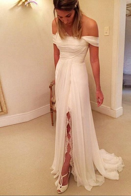 A-Line Off-the-Shoulder Wedding Dress Chiffon Long Beach Bridal Gowns On Sale