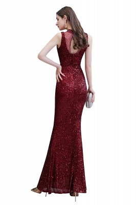 Gorgeous Burgundy Sequins Long Mermaid Prom Dress_11