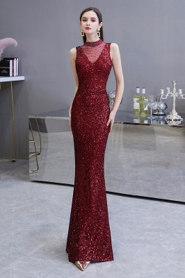 Gorgeous Burgundy Sequins Long Mermaid Prom Dress_3