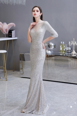 Silver Half Sleeve Sequins Prom Dress | Mermaid Long Evening Gowns_3