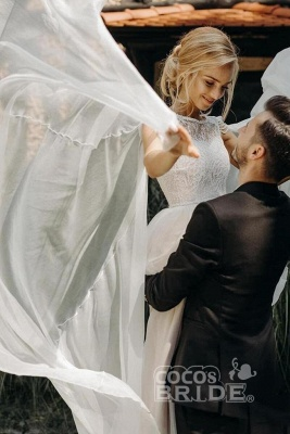 Gorgeous Off The Shoulder Tulle Beading A-Line Wedding Dresses_3