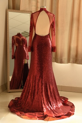 Sexy High-Neck Burgundy Sequined Slit Prom Dress | Long Sleeves Appliques Backless Formal Dress with Sheer Top_3