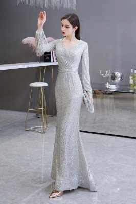 Gorgeous Sequins Long Sleeve Prom Dress | V-Neck Mermaid Evening Gowns_4