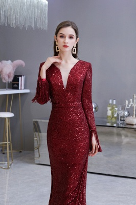 Gorgeous Sequins Long Sleeve Prom Dress | V-Neck Mermaid Evening Gowns_14