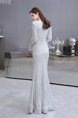 Gorgeous Sequins Long Sleeve Prom Dress | V-Neck Mermaid Evening Gowns_7