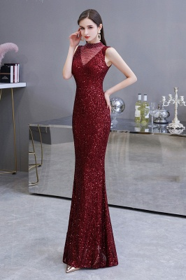Gorgeous Burgundy Sequins Long Mermaid Prom Dress_4