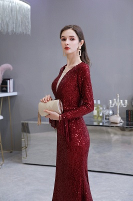 Gorgeous Sequins Long Sleeve Prom Dress | V-Neck Mermaid Evening Gowns_17