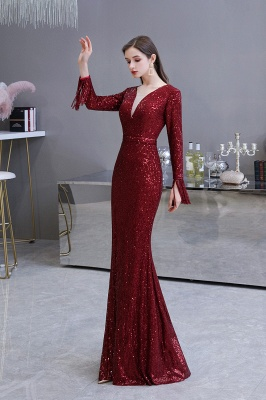 Gorgeous Sequins Long Sleeve Prom Dress | V-Neck Mermaid Evening Gowns_23