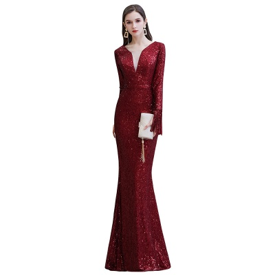 Gorgeous Sequins Long Sleeve Prom Dress | V-Neck Mermaid Evening Gowns_20