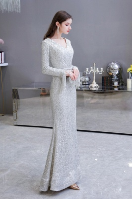 Gorgeous Sequins Long Sleeve Prom Dress | V-Neck Mermaid Evening Gowns_8