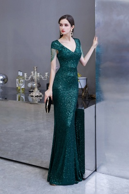 Elegant Cap Sleeve Green Prom Dress | Sequins Long Evening Gowns_5