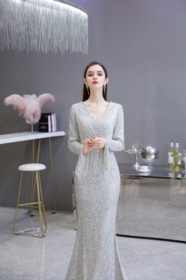 Gorgeous Sequins Long Sleeve Prom Dress | V-Neck Mermaid Evening Gowns_6