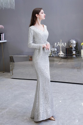 Gorgeous Sequins Long Sleeve Prom Dress | V-Neck Mermaid Evening Gowns_5