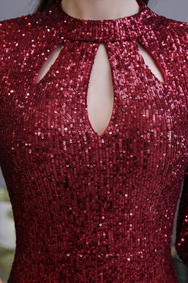 Burgundy Short Sleeve Sequins Prom Dress | Long Party Gowns_10