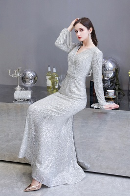 Gorgeous Sequins Long Sleeve Prom Dress | V-Neck Mermaid Evening Gowns_12