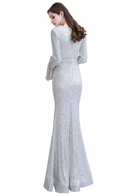 Gorgeous Sequins Long Sleeve Prom Dress | V-Neck Mermaid Evening Gowns_30