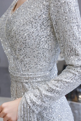 Gorgeous Sequins Long Sleeve Prom Dress | V-Neck Mermaid Evening Gowns_13