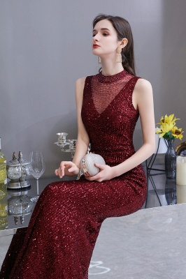 Gorgeous Burgundy Sequins Long Mermaid Prom Dress_7