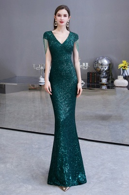 Elegant Cap Sleeve Green Prom Dress | Sequins Long Evening Gowns_2