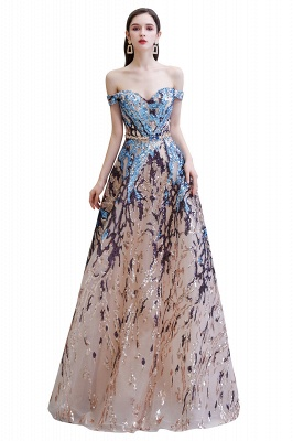 Glamorous Off-the-Shoulder Sequins Evening Gowns | Long Multi-Color Prom Dress_1