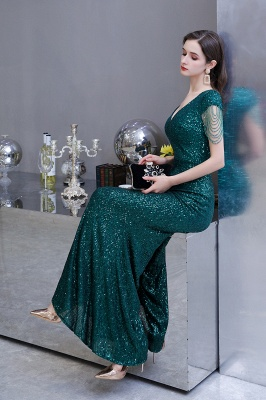 Elegant Cap Sleeve Green Prom Dress | Sequins Long Evening Gowns_16
