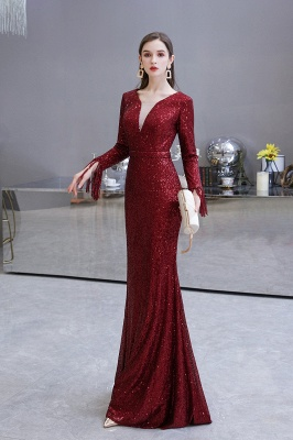 Gorgeous Sequins Long Sleeve Prom Dress | V-Neck Mermaid Evening Gowns_25