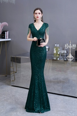 Elegant Cap Sleeve Green Prom Dress | Sequins Long Evening Gowns_3