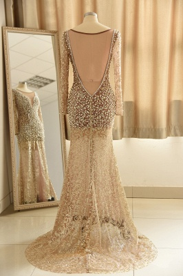 Glamorous Jewel Lace Front Slit Prom Dress | Long Sleeves Appliques Formal Dress with Pearls_3