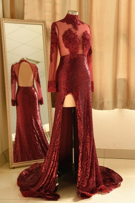 Sexy High-Neck Burgundy Sequined Slit Prom Dress | Long Sleeves Appliques Backless Formal Dress with Sheer Top_4