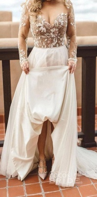 Tulle Long Sleeves Sweetheart Appliques Wedding Dresses_7