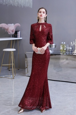 Burgundy Short Sleeve Sequins Prom Dress | Long Party Gowns_5