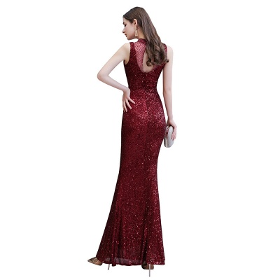 Gorgeous Burgundy Sequins Long Mermaid Prom Dress_12