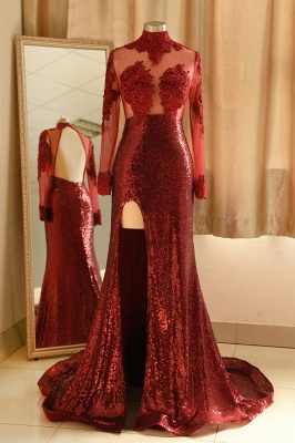Sexy High-Neck Burgundy Sequined Slit Prom Dress | Long Sleeves Appliques Backless Formal Dress with Sheer Top_1