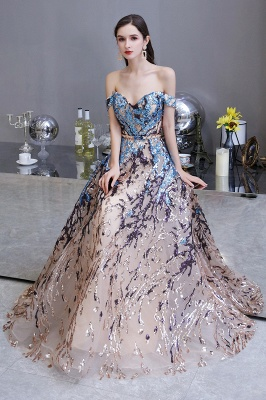 Glamorous Off-the-Shoulder Sequins Evening Gowns | Long Multi-Color Prom Dress_8