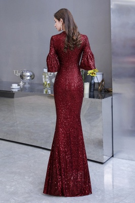 Burgundy Short Sleeve Sequins Prom Dress | Long Party Gowns_8