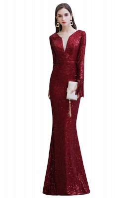 Gorgeous Sequins Long Sleeve Prom Dress | V-Neck Mermaid Evening Gowns_1