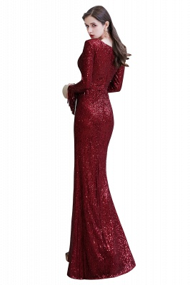 Gorgeous Sequins Long Sleeve Prom Dress | V-Neck Mermaid Evening Gowns_33