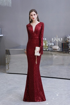 Gorgeous Sequins Long Sleeve Prom Dress | V-Neck Mermaid Evening Gowns_3