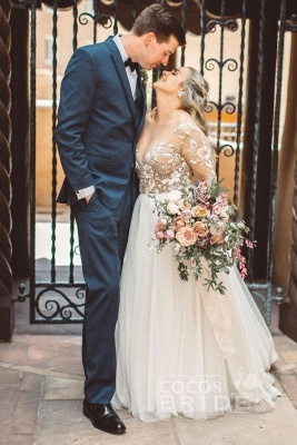 Tulle Long Sleeves Sweetheart Appliques Wedding Dresses_6