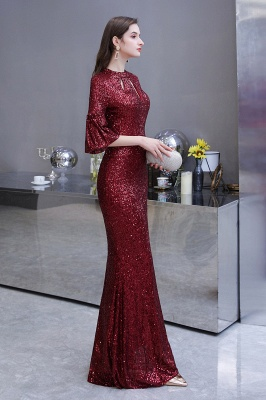 Burgundy Short Sleeve Sequins Prom Dress | Long Party Gowns_9