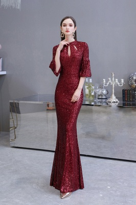Burgundy Short Sleeve Sequins Prom Dress | Long Party Gowns_7