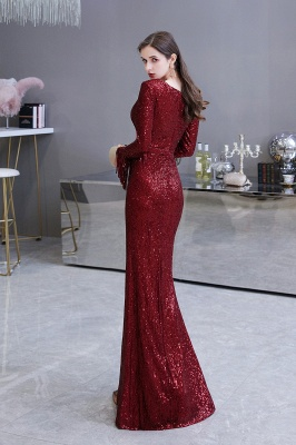 Gorgeous Sequins Long Sleeve Prom Dress | V-Neck Mermaid Evening Gowns_26