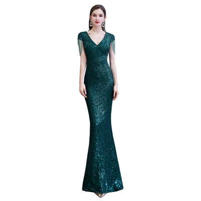 Elegant Cap Sleeve Green Prom Dress | Sequins Long Evening Gowns_10