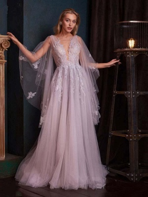Charming Tulle Deep V Neck Light Purple Wedding Dresses With Lace Appliques