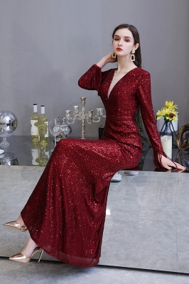 Gorgeous Sequins Long Sleeve Prom Dress | V-Neck Mermaid Evening Gowns_22