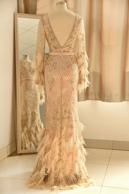 Glamorous Jewel Lace Appliques Prom Dress | Long Sleeves Mermaid Formal Dress with Fur_3